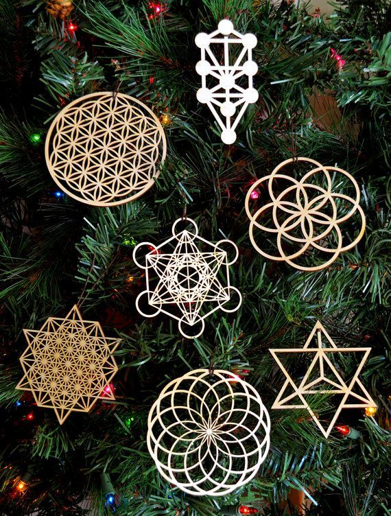 La géométrie sacrée vacances ornements - ensemble de sept - Laser découpe de bois