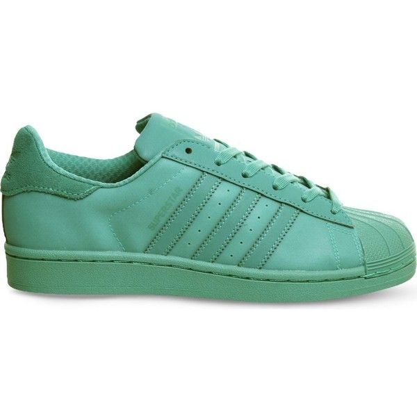 ADIDAS Superstar 1 leather trainers ($110) ❤ liked on Polyvore featuring shoes, sneakers, adidas, shock mint, leather shoes, lace up shoes, mint green shoes and round cap