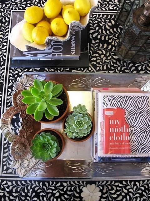 succulents, lemons and bone inlay