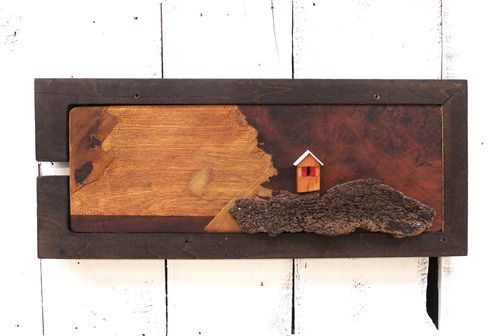 """""""It's a Storm"""" - Seaside reclaimed wood wall hanging."""