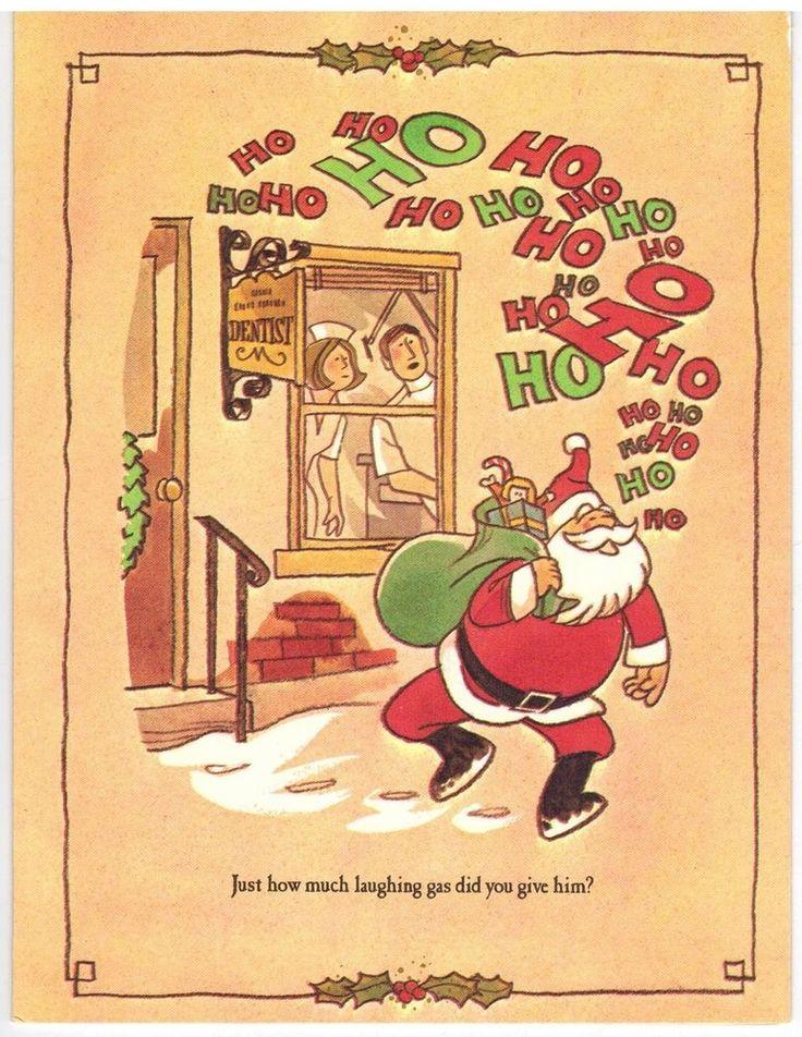vintage christmas card comic  joke santa dentist office