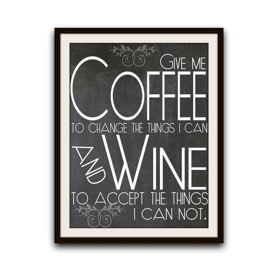 Coffee Kitchen Art Typography Chalkboard Poster Wall Decor