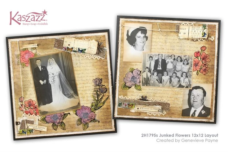 2H1795s Junked Flowers 12x12 Layout