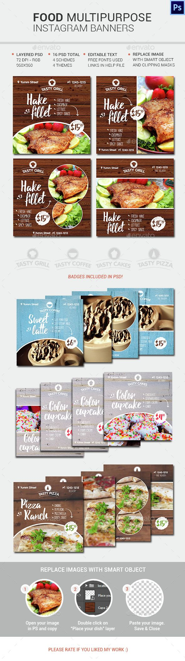 Food Instagram Banners - Social Media Web Elements