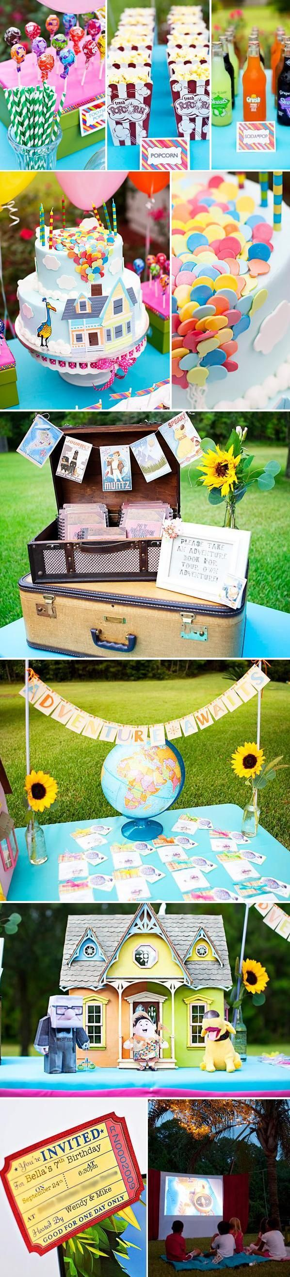 UP inspired outdoor movie night party.SUCH A CUTE IDEA!!!