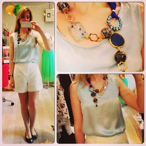 Bugun @Burcu Arkut #Designroom #ipek bluzu, beyaz keten şortu ve mavi kolyesi ile/ Burcu is wearing her Designroom #silk #blouse, #linen #shorts and necklace. #instacollage