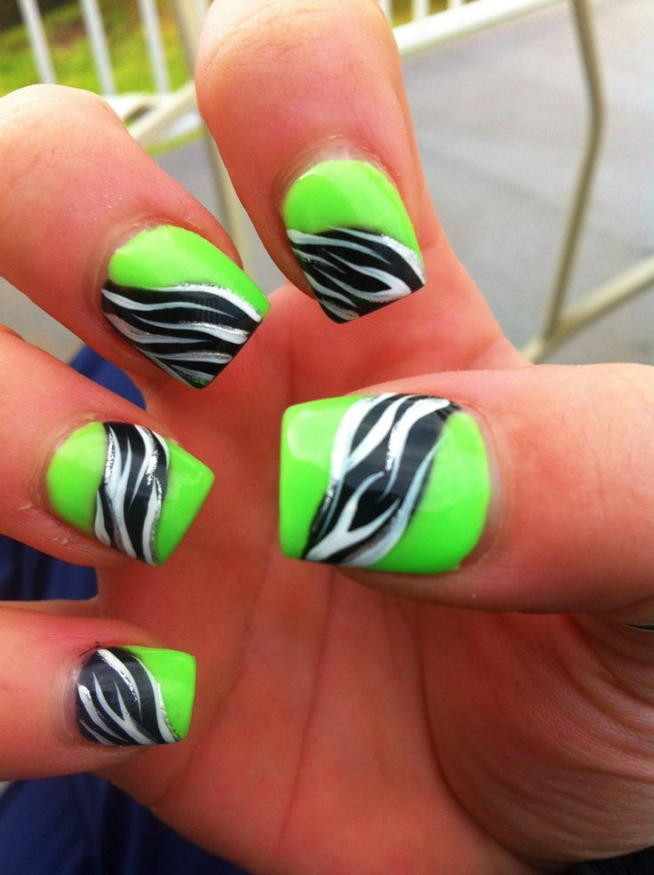 lime green nail designs with zebra print