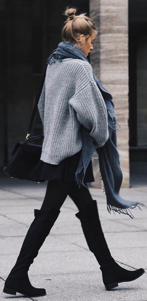 grey oversized knit sweater, scarf, leggings, and black over the knee boots. cute and cozy fall or winter outfit.