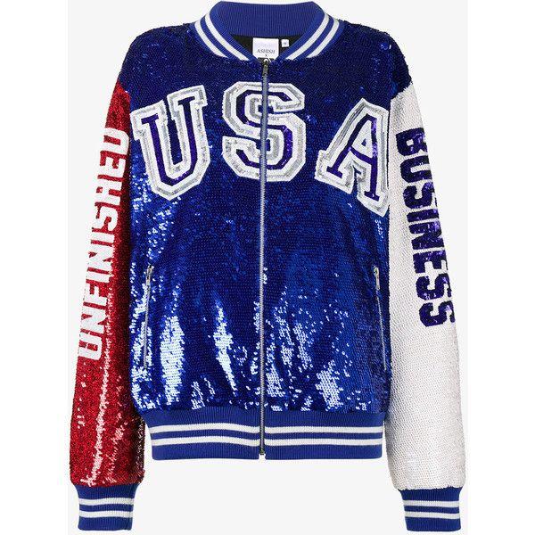 Ashish USA Unfinished Business Sequin Varsity Jacket ($2,330) ❤ liked on Polyvore featuring ashish and jackets