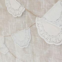 Pretty doily and twine bunting, made for paper doilies.