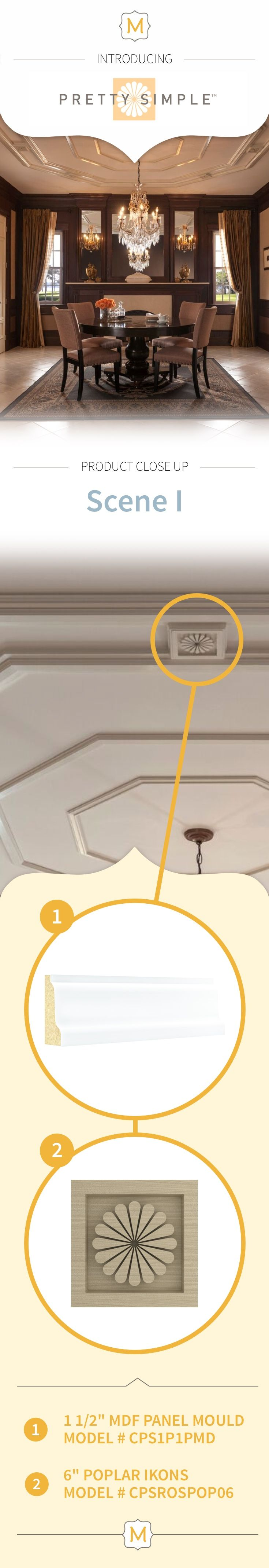 These attention-grabbing Ikons from Metrie's Pretty Simple Collection add a decorative flair to the moulding elements on this ceiling.