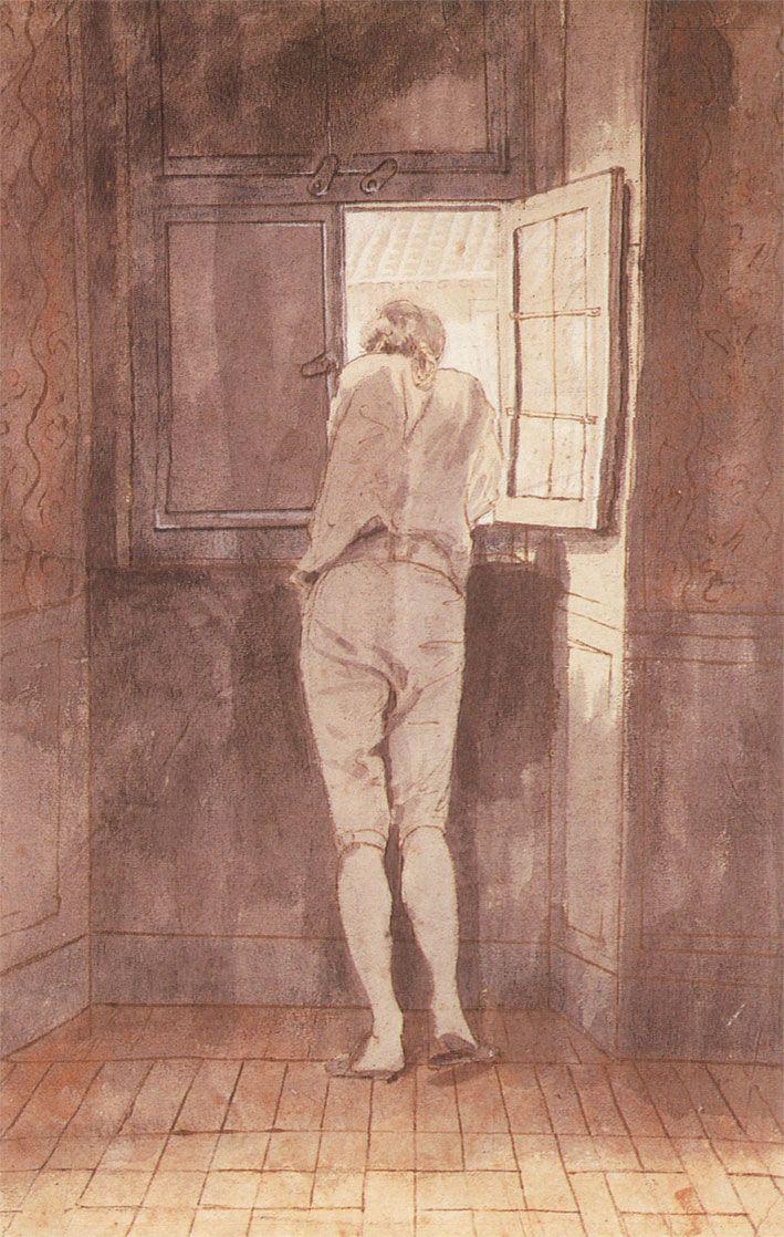 Johann Heinrich Wilhelm Tischbein - Johann Wolfgang Von Goethe in Rome in 1787 Looking out of the Window in a Relaxed Mood, 1787
