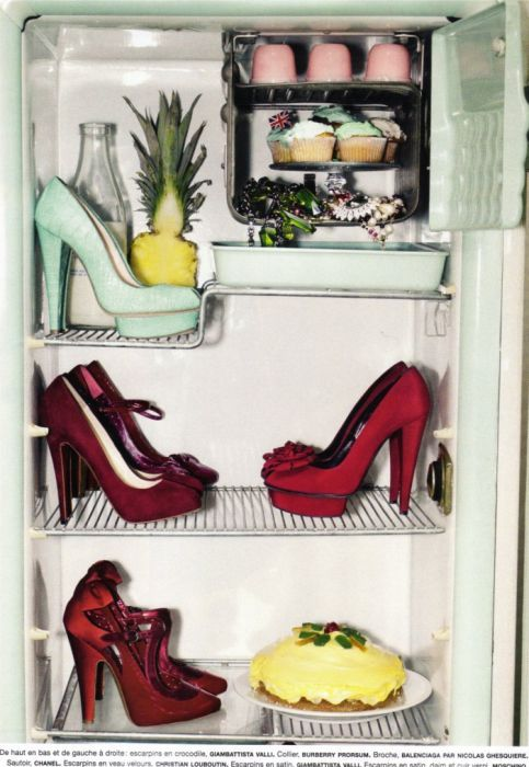 shoes in fridge - still life - cool shoes
