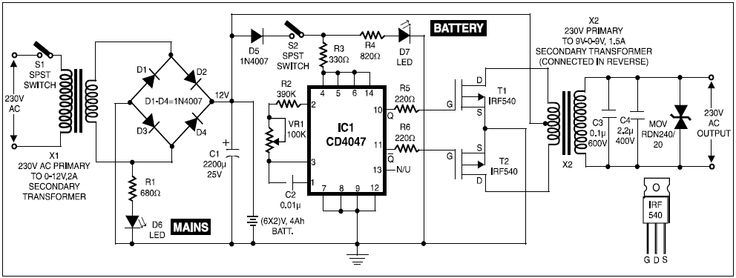 ups for cordless telephones circuit diagram