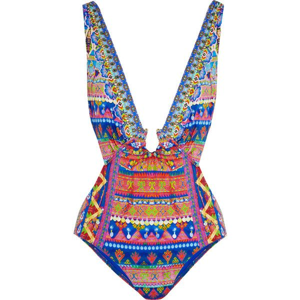 Camilla Spirit of Ruh embellished printed swimsuit ($410) ❤ liked on Polyvore featuring swimwear, one-piece swimsuits, swimming costume, embellished one piece swimsuits, colorful bathing suits, swimsuit swimwear and colorful swimsuits