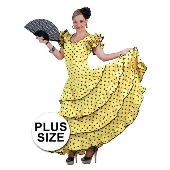 Grote maast Spaanse flamencojurk geel met zwarte stippen. Gele flamencojurk grote maat met korte mouwen en zwarte stippen.