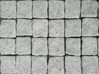 Dove Grey Granite Exfoliated Cobblestones on mesh sheets. Sheet Size: 500x500mm in a Linear Pattern SALE NOW ON