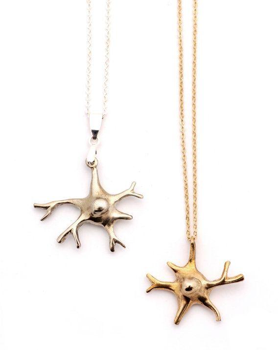 Bronze Oligodendrocyte Necklace by PeggySkempJewelry on Etsy, $40.00