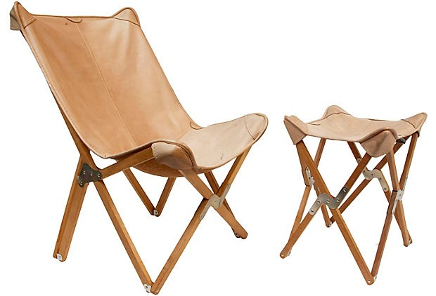 Folding Butterfly Chair & Stool
