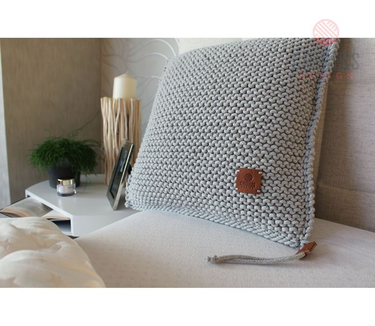 Hand-knitted cushion. Knitted cushion. Soft furnishing.