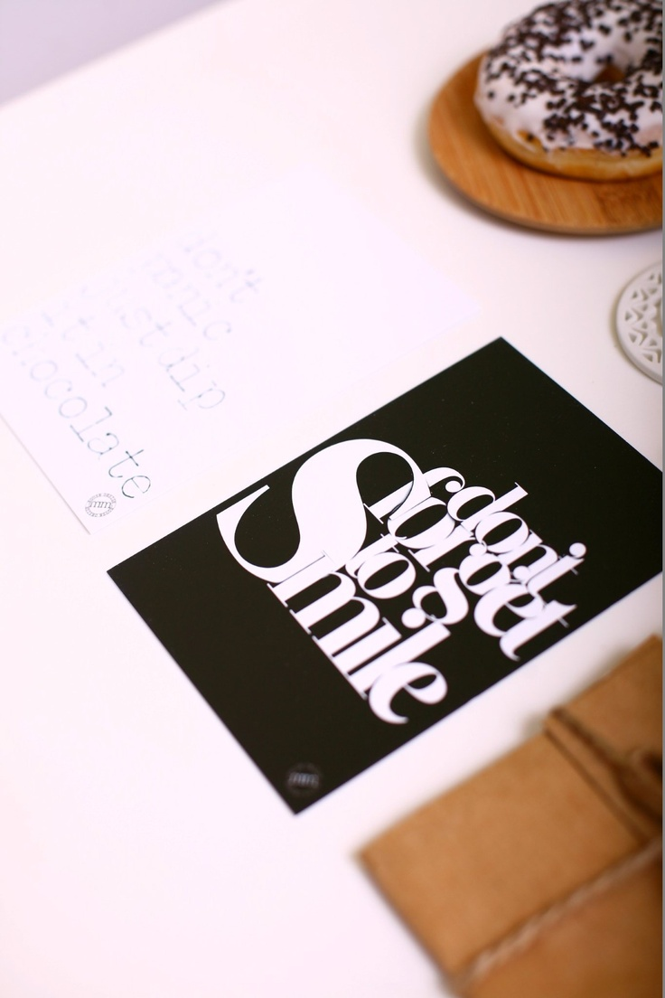 Smile is a half of kiss, so Smile to me twice :))    http://mmhd.pl/produkt/set-of-4-minimalistic-postcards