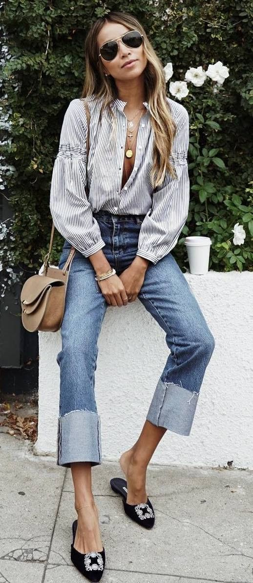 summer outfit striped shirt bag jeans loafers