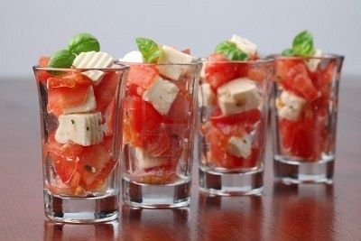 17. Savory treats... tomato, basil, mozzarella salad in a shot glass!  Love that summer wedding app.   #modcloth #wedding