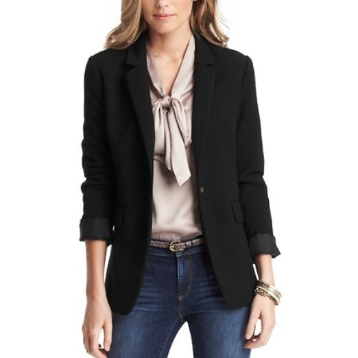 Rank & Style Top Ten Lists | Loft Long and Lean One Button Blazer #rankandstyle