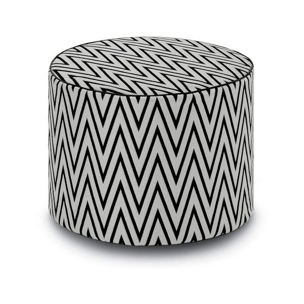 Missoni Home Rivas Cylinder Pouf ($826) ❤ liked on Polyvore featuring home, furniture, ottomans, cylinder ottoman, outside furniture, black ottoman, missoni home and black outdoor furniture