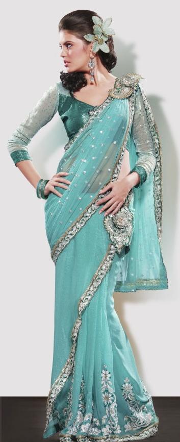 Glamorous Green Saree