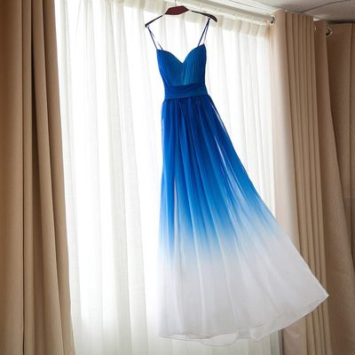 Royal Blue Omre white Bridesmaid Dresses,Ombre dress for Bridesmaid,Long Bridesmaid Dresses,APD2324