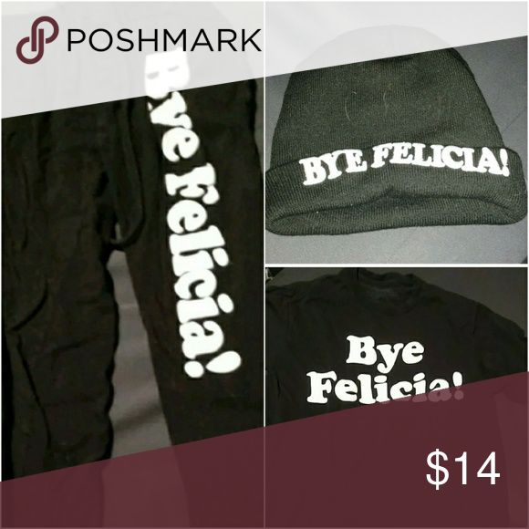save 25% bye Felicia outfit: beanie, tee & joggers includes Bye Felicia! sweatpants/joggers, $8 on its own. (optional- original sold out, pick from others in my closet if you still want a beanie and let me know) beanie, $4 on its own. and bye Felicia tee shirt, $6 on its own. a total of $18 for only $14 if you bye this outfit package. pants are size small, shirt is size small.  Make sure to check out my free with purchase items! They are labeled with a 💜 in the title. If you want one just…