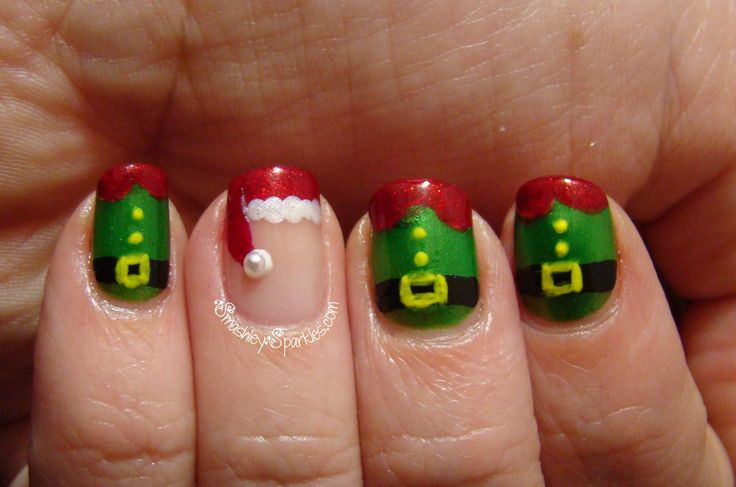 Love the santa hat....the others not so much  Christmas Nail Designs | Holiday Nail Art Challenge: Day 7, Santa and Elves