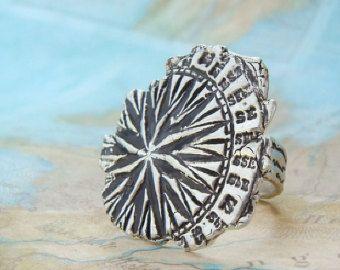 Compass Ring, Fine Silver Nautical Jewelry, Explorer Ring, World Traveler Gift, Organic Jewelry