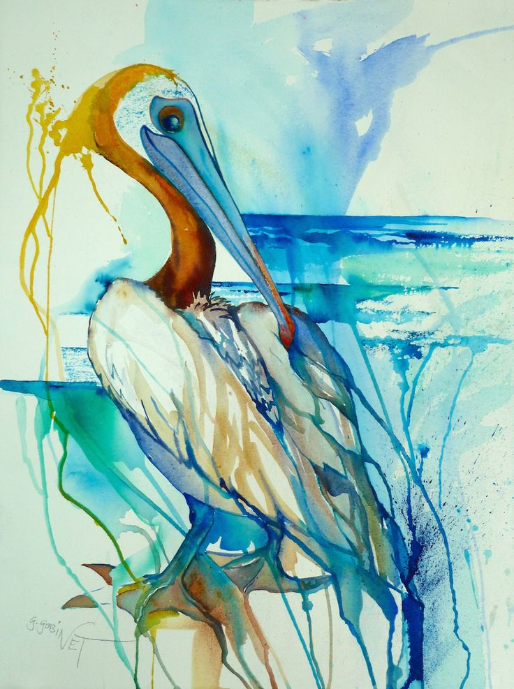 Brown Pelican Watercolour 22x30""