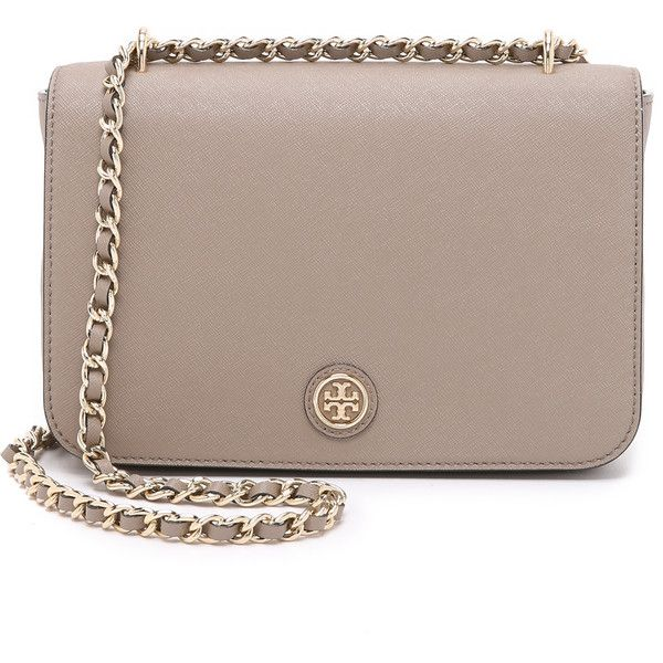 Tory Burch Robinson Adjustable Shoulder Bag ($405) ❤ liked on Polyvore featuring bags, handbags, shoulder bags, french gray, leather shoulder bag, grey leather shoulder bag, grey purse, gray leather purse and genuine leather handbags