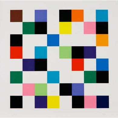 Ellsworth Kelly, Colors on a Grid, 1976, Color Lithograph, 48 ¼ x 48 ¼ inches, Edition of 46,