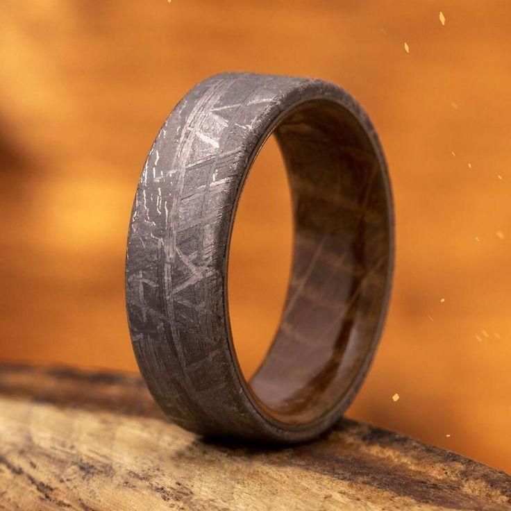 Meteorite Men's Wedding Band With Whiskey Barrel Wood