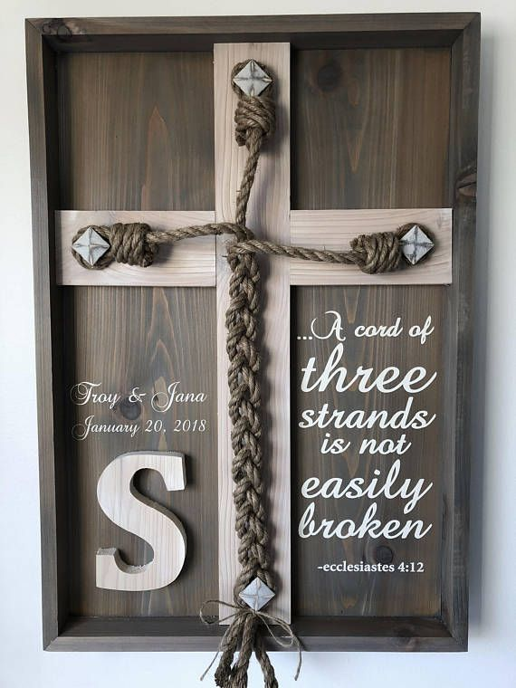 Wedding Unity Ceremony – Braid w/Ecclesiastes 4:12 scripture and Personalized Names/Dates (Gray & Whitewashed) – Gift ideas