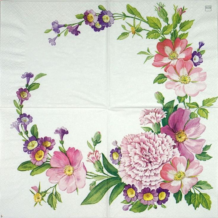 4 Single Table Party Paper Napkins for Decoupage Decopatch Craft Flower Garland