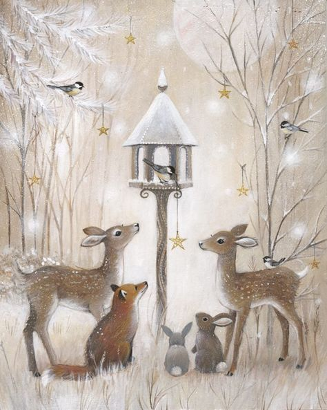 Sweet woodland animals winter holiday tableau, can't find source to credit artist and original post is in Russian I think Милые новогодние иллюстрации : фото #5
