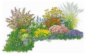 Herbst  ImHerbst sorgen Sonnenbraut, Fetthenne und Kissen-Aster für späte Blütenpracht. Rittersporn und Steppen-Salbei blühen nach dem Rückschnitt im Sommer schon zum zweiten Mal wenn auch etwas bescheidener. Auch das Chinaschilf zeigt jetzt seine silbrigen Blütenstände.