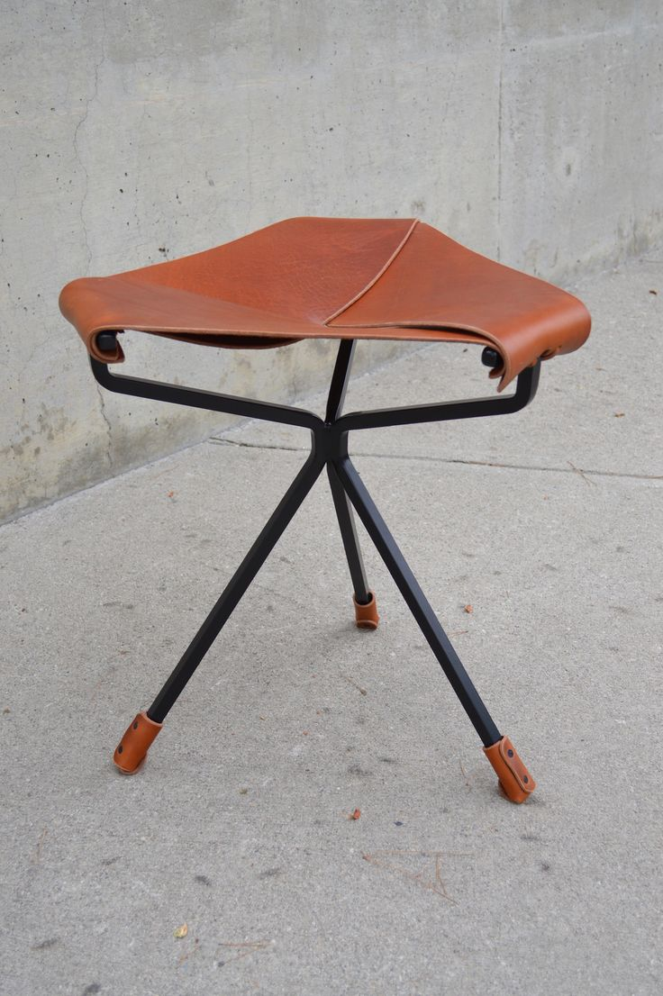 Dan Wenger; Leather And Steel U0027Lotusu0027 Stool, ...