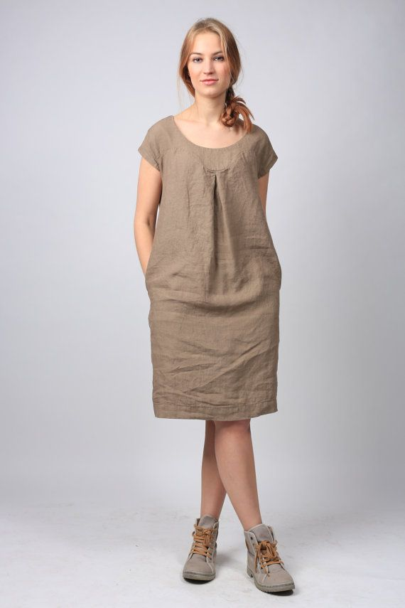 Linen dress. Linen tunic dress. Simple Casual linen por LinenCloud