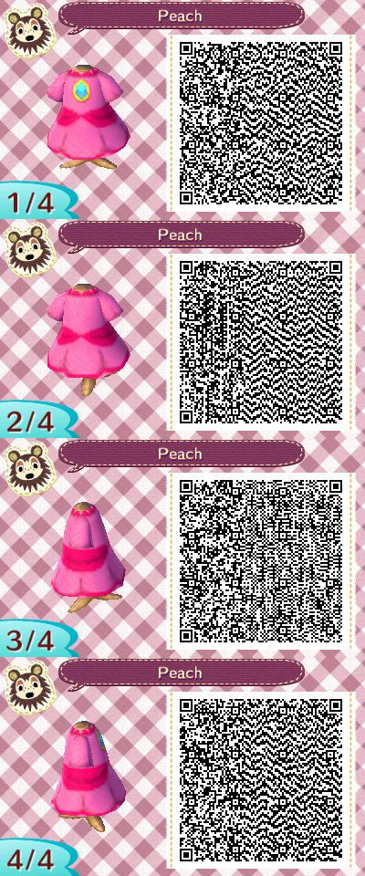 Animal Crossing: NL QR Codes [Princess Peach Outfit]