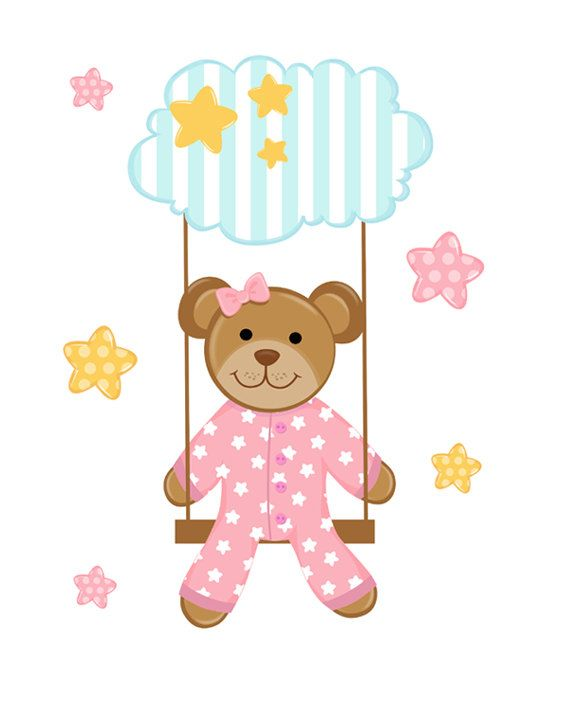 Swinging Pink Teddy Bear Wall Mural Decal for baby girl nursery. Little bear loves swinging from a fluffy floating cloud surrounded by the twinkling night stars. This bear is absolutely adorable with her cute pink pajamas #decampstudios