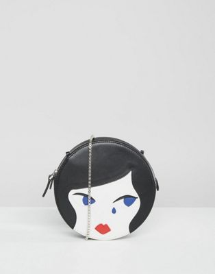 Lulu Guinness Doll Face Round Leather Cross Body Bag