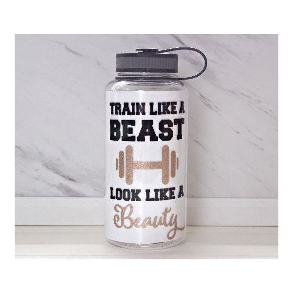 Train Like a Beast Look Like a Beauty One of a Kind Daily Water Intake... ($18) ❤ liked on Polyvore featuring home, kitchen & dining, drink & barware, drinkware, grey, home & living, water bottles & vacuum flasks, grey tote bag and gray tote bag