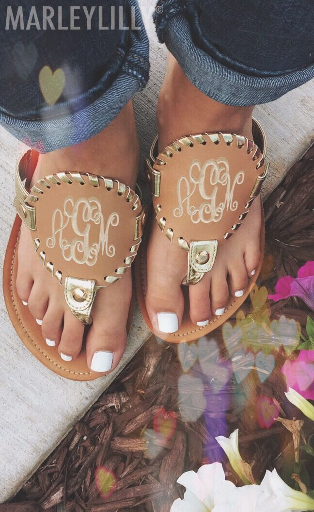 Heart eyes over Embroidered Monogrammed Sandals! Get yours today at www.marleylilly.com! (50% OFF until 11.1)