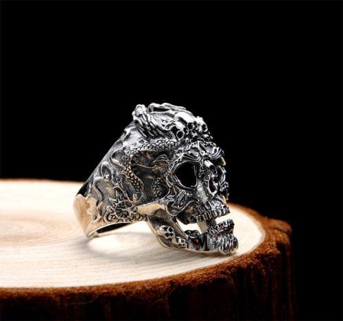 Skull-Ringe-freie-Groesse-925-Sterling-SILBER-HERREN-RING-BIKER-ROCKER-Resizable